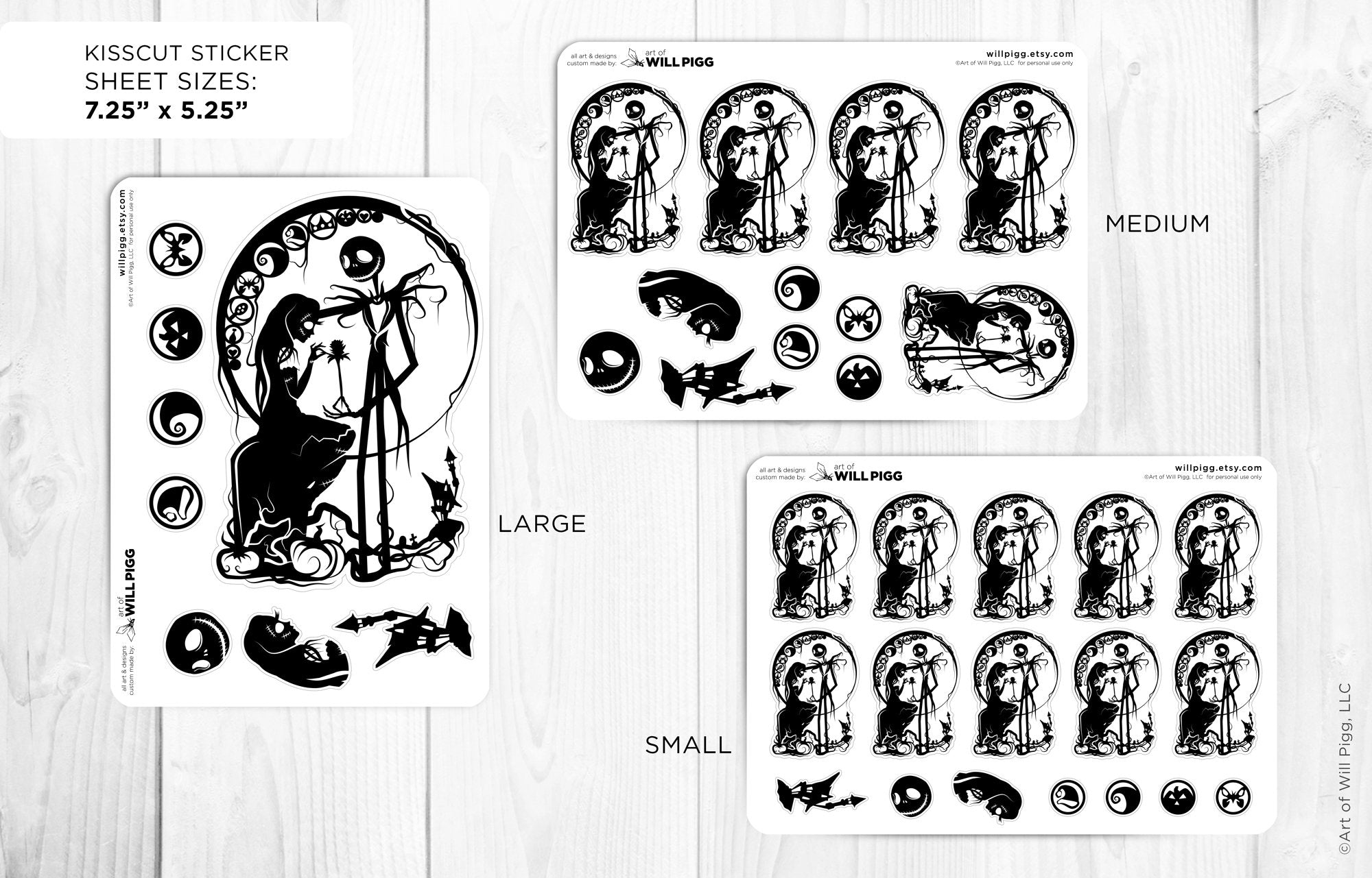 Nightmare Before Christmas Jack and Sally Kiss Cut Stickers Planner Journal Party Supplies Event Supplies Wedding Birthday Geek Will Pigg