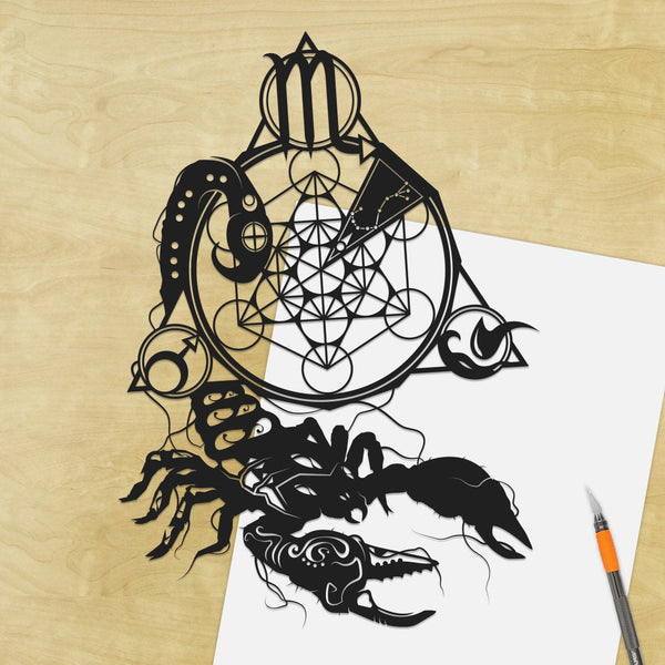 UNFRAMED Scorpio Zodiac Constellation Stars Sign silhouette Paper cut Birthday Gift Will Pigg