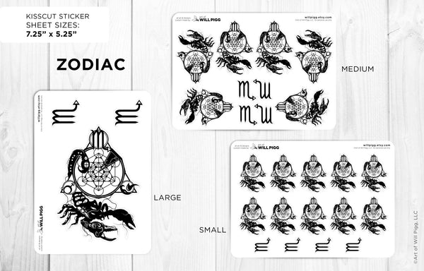 Zodiac Scorpio Star Sign Kiss Cut Stickers Planner Journal Party Supplies Event Supplies Wedding Birthday Gift Geek Gift Will Pigg