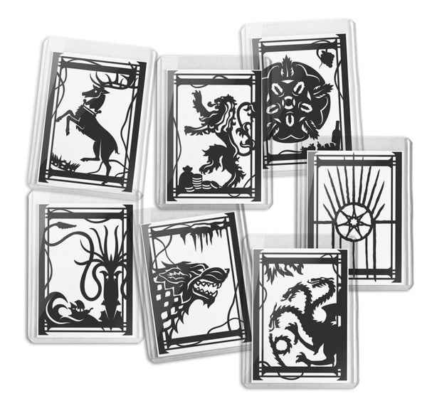 ACEO Card, Game of Thrones, House Sigil, Paper Cut Cards, Artist trading card, ATC, Limited Edition, Will Pigg