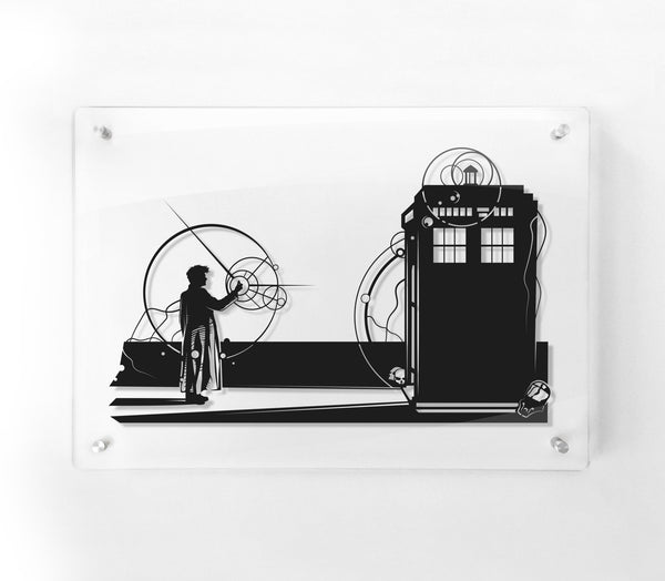 FRAMED Doctor Who Snap, Tardis, Forest of the Dead, David Tennent, silhouette hand cut paper wall decor artwork, Will Pigg