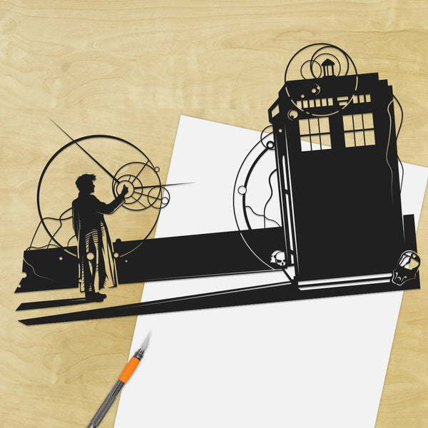 UNFRAMED Doctor Who Snap, Tardis, Forest of the Dead, David Tennent, silhouette hand cut paper wall decor artwork, Will Pigg