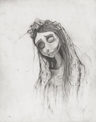 Corpse Bride, Emily, Tim Burton illustration print Graphite giclée fine art wall print horror movie art black and white Will Pigg