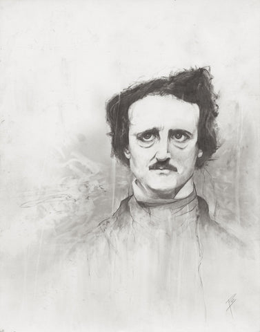 Edgar Allen Poe illustration print Graphite giclée fine art wall print black and white Will Pigg