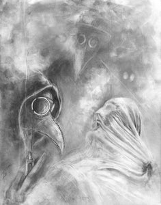 Plague Doctors At Work -  illustration print Graphite giclée fine art wall print