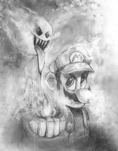 Mario Boo - illustration print Graphite giclée fine art wall print