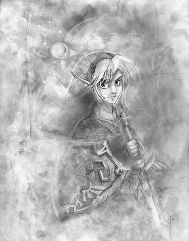 Link - Legend of Zelda - illustration print Graphite giclée fine art wall print