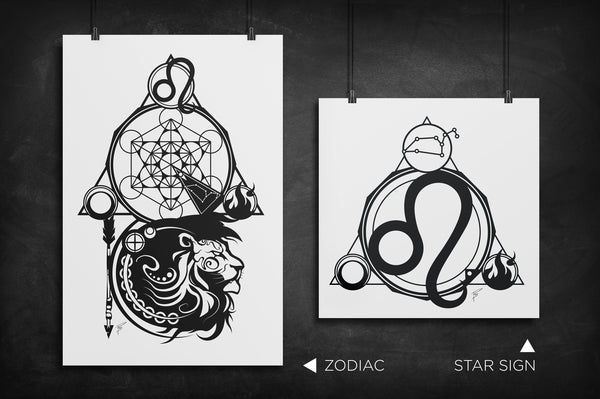 Leo - Zodiac Star Sign silhouette art print