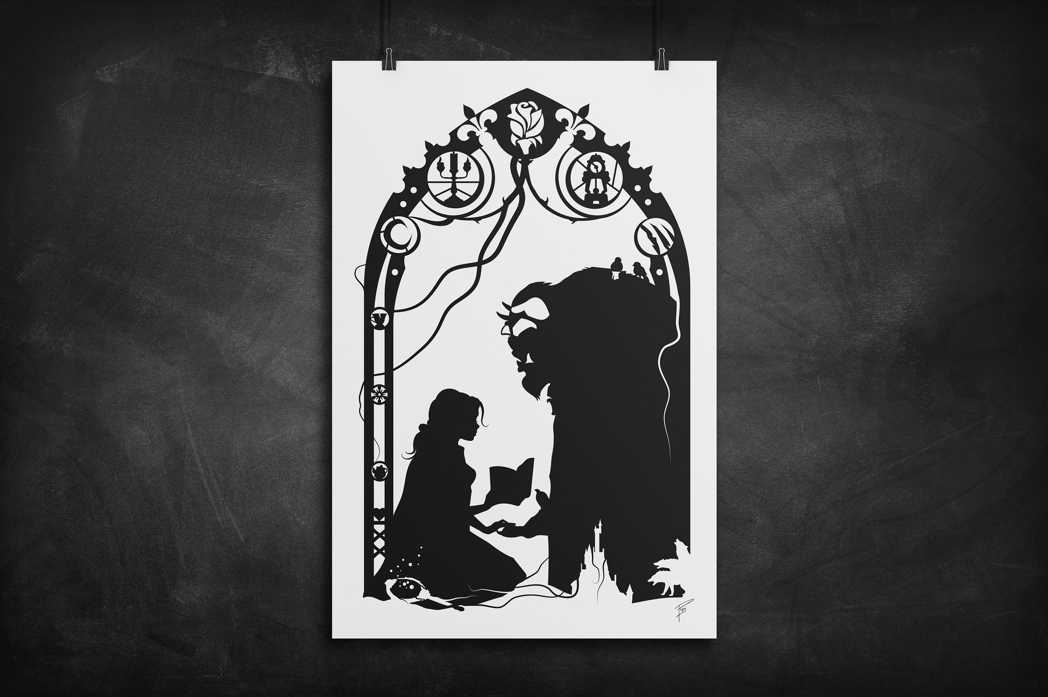 Belle and Beast - Beauty and the Beast silhouette art print
