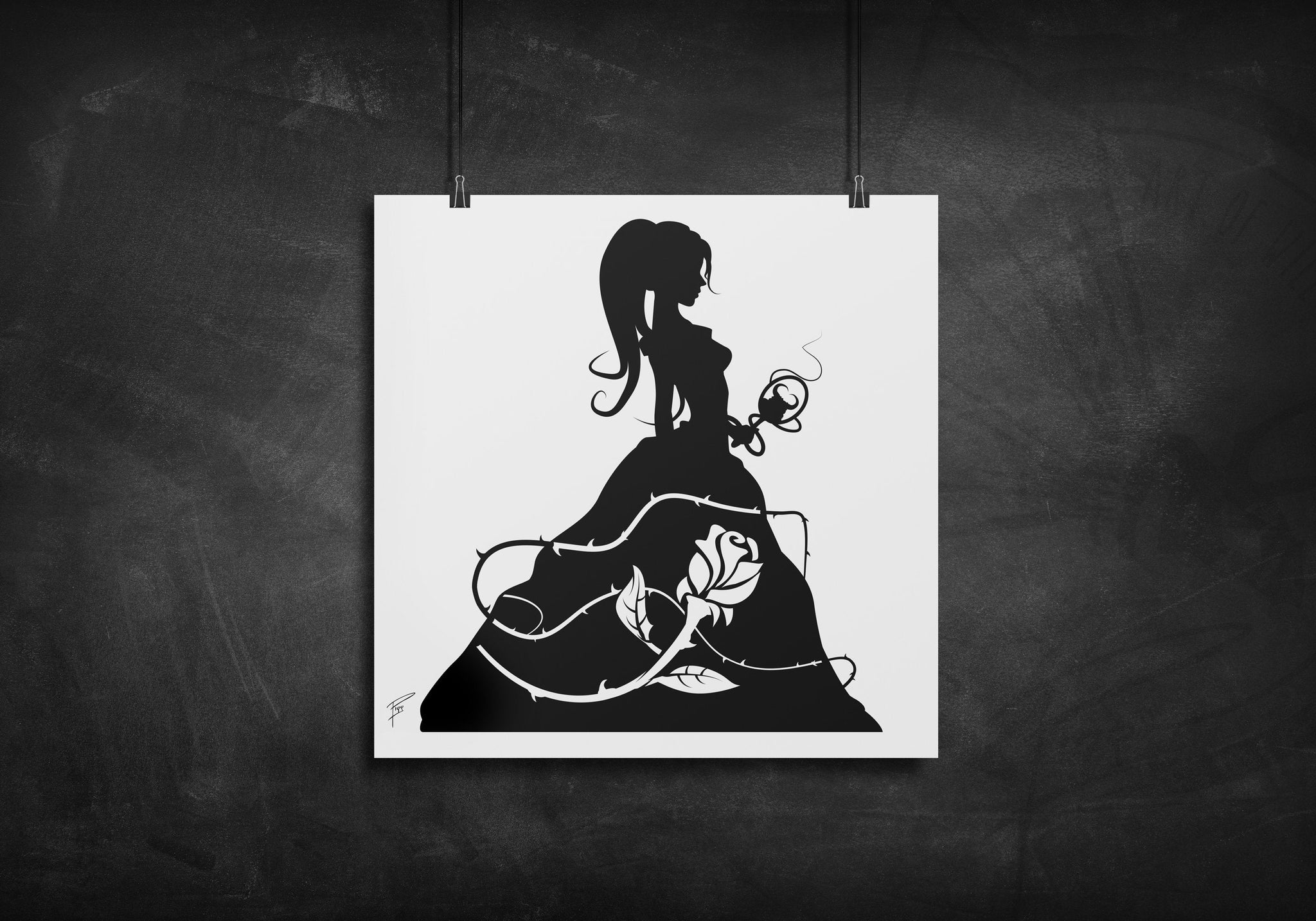 Princess Belle - Beauty and the Beast silhouette art print