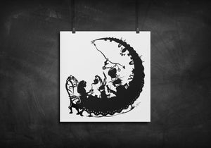 Alice and Tea Party - Alice in Wonderland silhouette art print