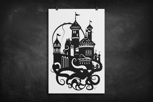 Prince Eric's Castle - The Little Mermaid silhouette art print