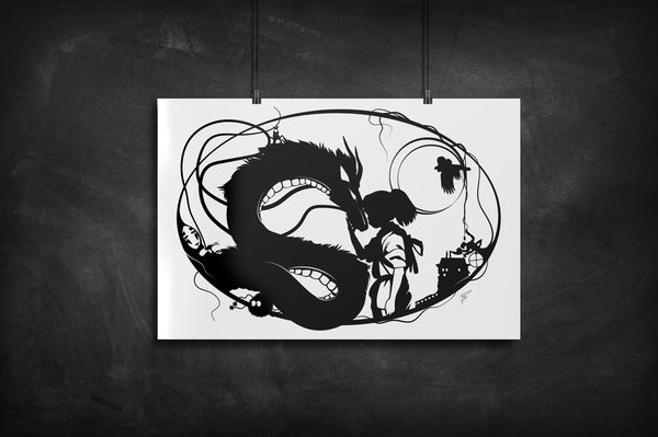Spirited Away silhouette art print