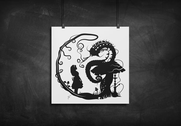Alice with Caterpillar - Alice in Wonderland silhouette art print