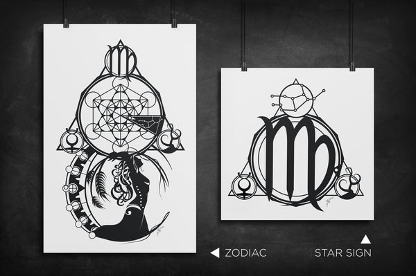 Virgo - Zodiac Star Sign silhouette art print