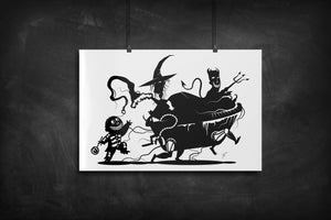 Lock, Shock, Barrel - Nightmare Before Christmas silhouette art print