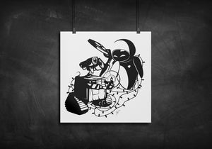 Wall-E and Eve silhouette art print