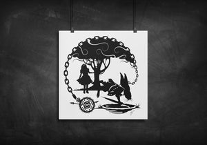 Alice and White Rabbit - Alice in Wonderland silhouette art print