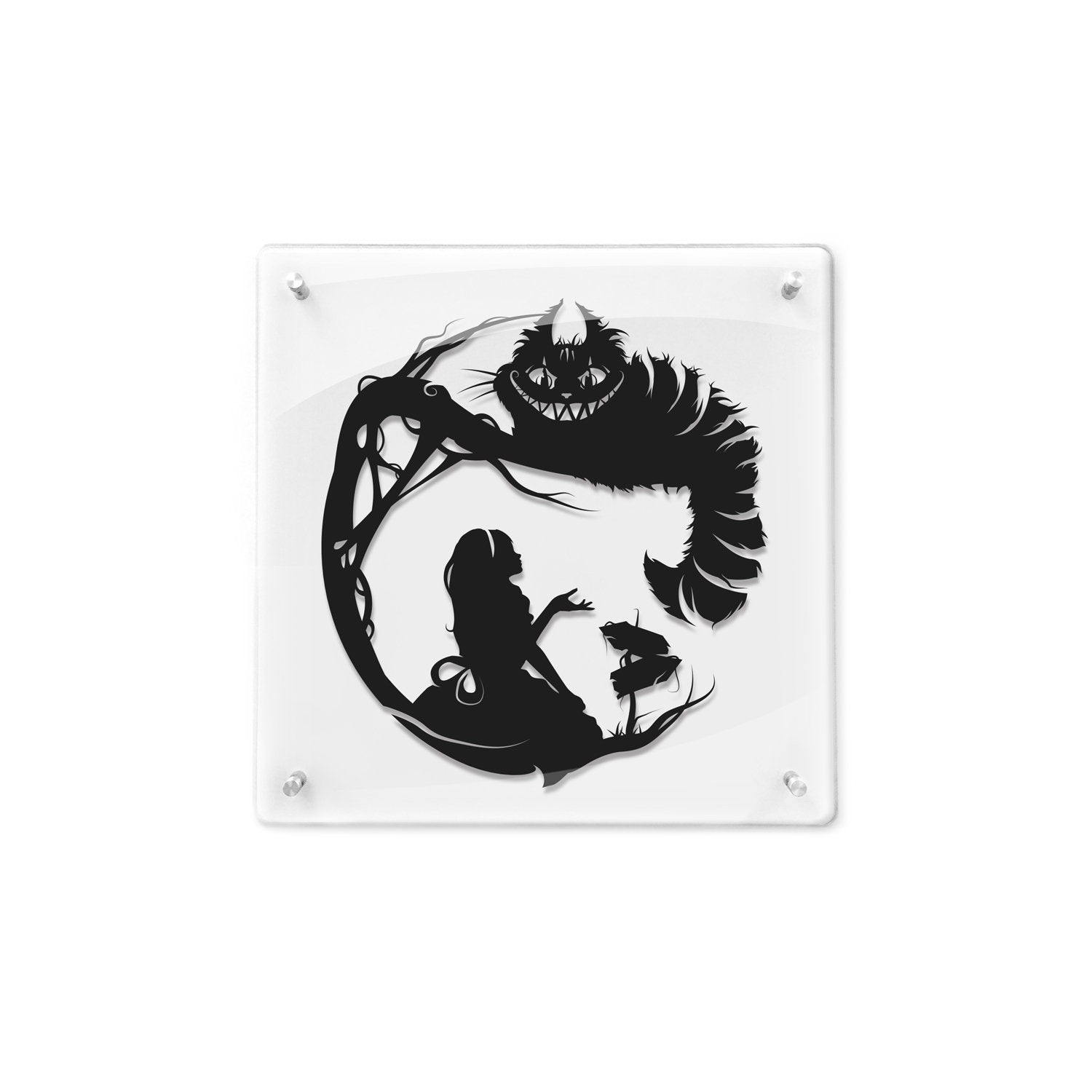 FRAMED Alice in Wonderland Cheshire Cat Storybook Fairy Tale Papercut We're All Mad Here Lewis Carroll Fantasy Art Geek Gift Disney Art