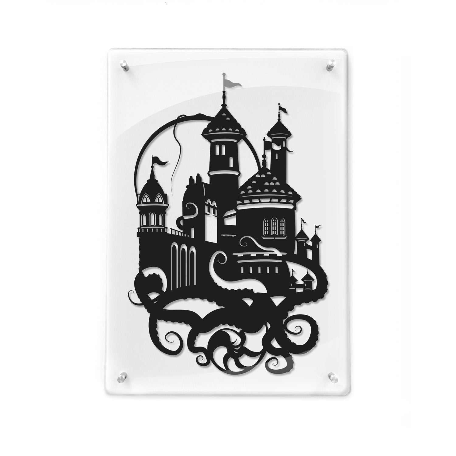 FRAMED Little Mermaid Prince Eric's Castle // silhouette hand cut paper craft framed wall decor unique art disney inspired artwork