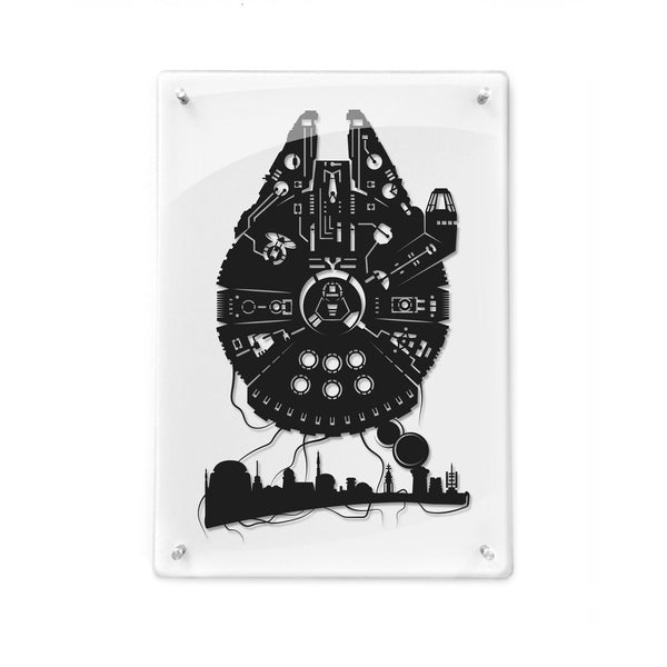 FRAMED Star Wars The Millenium Falcon Han Solo Mos Eisley Millennium Falcon Rey star wars art paper cut papercut gifts for him Will Pigg
