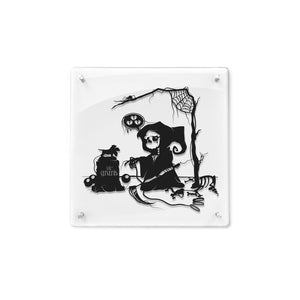FRAMED Goodbye Lil' Cerberus Sad Grim Reaper Underword Death of Pet Cute Death Sad Reaper Dog Art creepy cartoon geek gift papercut