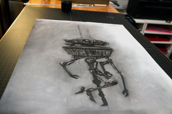 Star Wars Probe Droid illustration charcoal pastel giclée fine art wall print sci fi art
