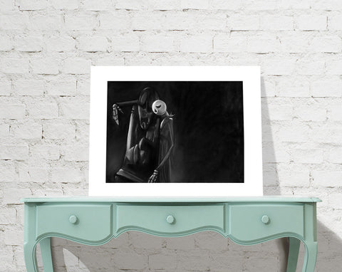Nightmare Before Christmas Jack's Lament Jack Skellington Disney museum quality giclée Charcoal and Pastel disney art disney gifts NBC skull