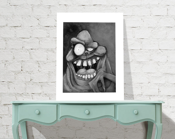 Ghostbusters Slimer charcoal fine art print - signed wall art museum quality giclée
