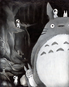 My Neighbor Totoro Kodama Mononoke  museum quality giclée art print Kodama art Charcoal and Pastel disney gifts charcoal drawing