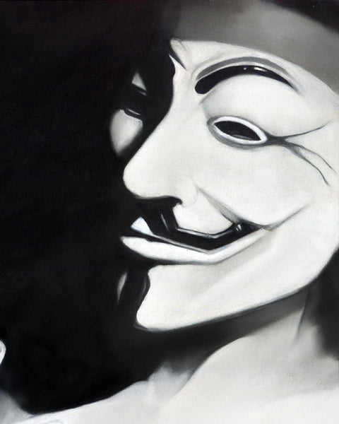Charcoal Illustration Free Your V photo realism art V for vendetta realistic drawing giclée women empowerment unique wall art freedom art
