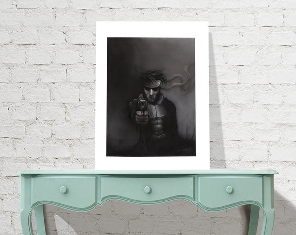 Metal Gear Solid // Solid Snake illustration charcoal pastel giclée fine art wall print video game art