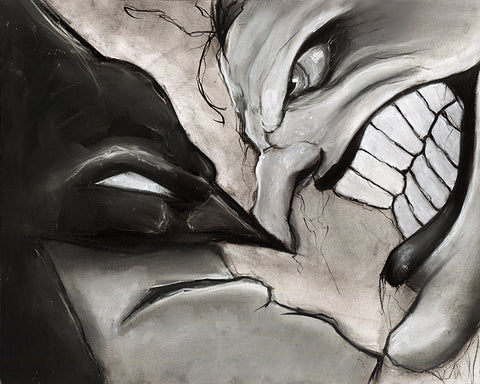Batman and Joker comic book illustration print dark knight charcoal art pastel bruce wayne giclée black and white wall art art print 8x10