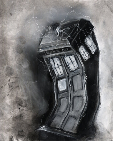 Dr Who Tardis illustration print charcoal art Doctor Who pastel giclée print 8x10 black and white sci fi art geek gift charcoal drawing