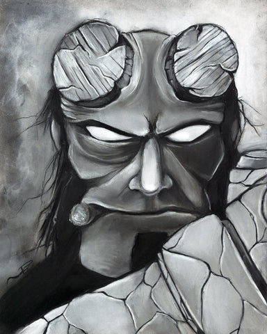 Hellboy Guillermo del Toro Ron Perlman illustration charcoal drawing giclée baby demon 8x10 black and white hellboy artwork