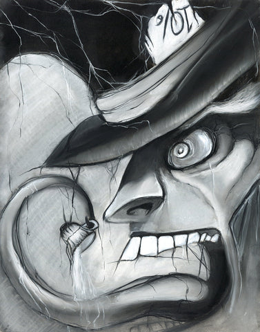 Mad Hatter - Alice in Wonderland charcoal and white pastel