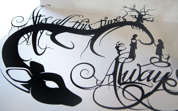 UNFRAMED Harry Potter Quote After All This Time Always Snape Lily Paper cut Love Couple Wall Art Patronus Geek Gift Harry Potter Gift