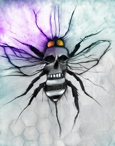 Bee Skull artwork For Life - original illustration signed museum quality giclée fine art print Charcoal & Pastel