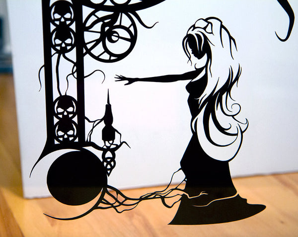 UNFRAMED Sleeping Beauty Spinning Wheel Princess Aurora silhouette hand cut paper cut framed wall decor fairy tale fable art storybook