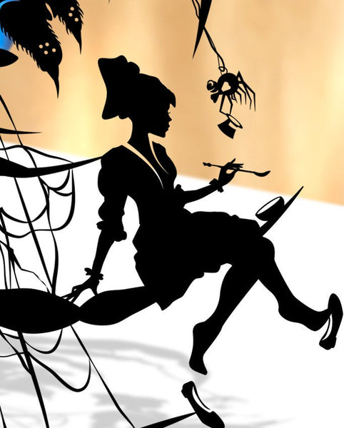 UNFRAMED Little Miss Muffet - nursery rhyme silhouette hand cut paper craft fairy tale fable unique wall decor