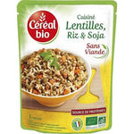 Organic cereal Lentils rice and soy cooked without meat in bag 250g