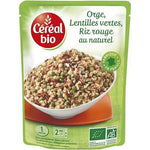 Organic cereal Barley green lentils and natural red rice in bag 250g