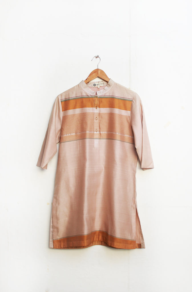 Handwoven Soft Pink Yellow Cotton Zari Short Kurta