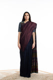 Handwoven Blue Maroon Engineered Silk Saree