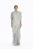 Handwoven Engineered Jaamdani Striped Linen Saree