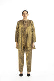 Handwoven Liquid Molten Gold Metallic SIde Gathered Jacket