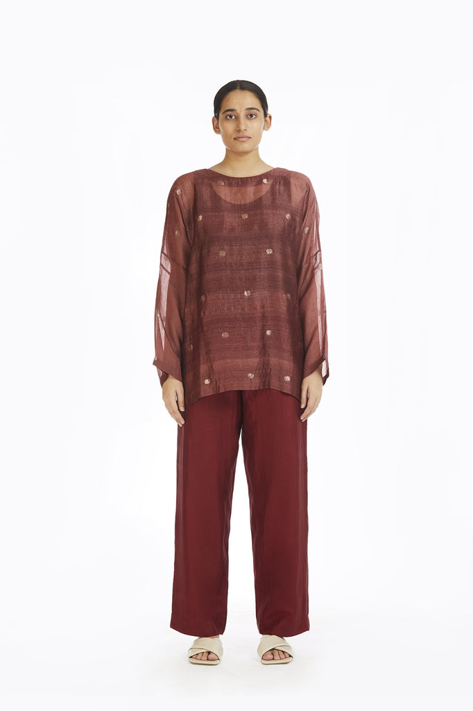 Handwoven Red Jamdani Top