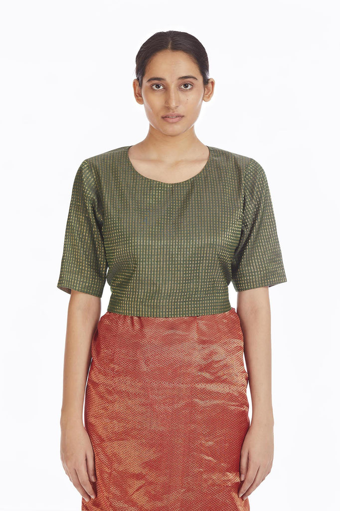 Handwoven Green Gold Texttured Metallic Blouse