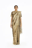 Handwoven Silver On Gold Longline Saree