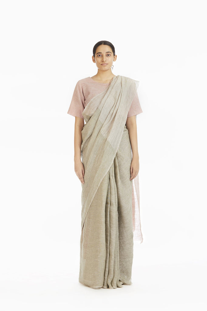 Handwoven Engineered Olive Soft Pink Linen Saree